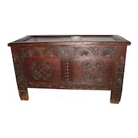 Antique English Jacobean Carolean Oak Coffer 17th Century
