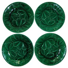 4 Antique French Majolica Plates 19th Century