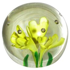 Vintage Glass Paperweight Yellow Crocus 20th Century