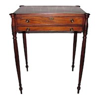 Antique American Federal Mahogany Sewing Work Table Massachusetts Circa 1800
