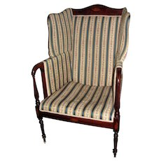 Antique American Mahogany Boston Federal Style Wingback Armchair Circa 1900