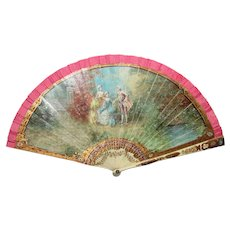 Antique Vernis Martin Style Hand Painted Fan Circa 1900