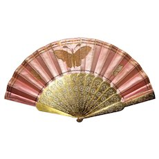 Antique Hunt Allen Satin and Gold Fan Circa 1875