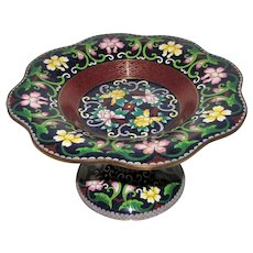Antique Chinese Cloisonne Pedestal Compote Early 20th Century
