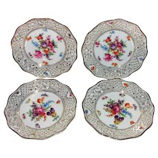 """Set of Four Vintage Schumann Reticulated Plates 8 3/8"""""""