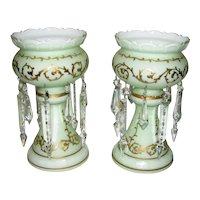 Pair Antique Victorian Cased Glass Mantle Lusters Circa 1880