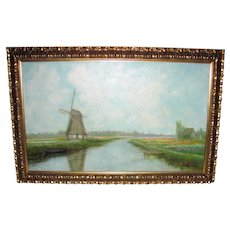 Dutch Landscape Painting Casper Verlint 20th Century Oil On Canvas