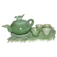 Vintage Carved Celadon Jade Miniature Tea Set With Dragon