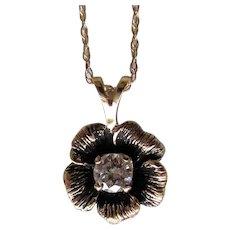 Vintage 14K Diamond Enamel Pendant .30ct. 1960s-1970's