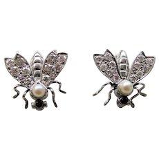 Pair Vintage Platinum Diamond Pearl Ruby Bug Pins