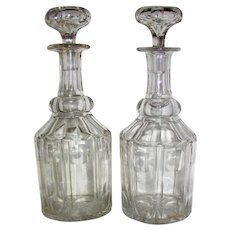 Pair Victorian Cut Crystal Liquor Decanters 19th Century