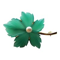 Vintage 14K Pearl and Frosted Glass Brooch Mid 20th Century