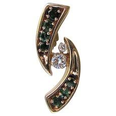 Designer 14K Diamond and Emerald Pendant