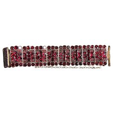 Antique Victorian Garnet Bracelet in Silver Circa 1880