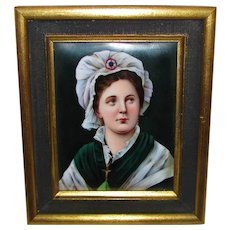 Antique Portrait Miniature on Porcelain KPM Circa 1900