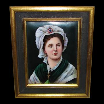 Antique Portrait Miniature on Porcelain KPM Circa 1900