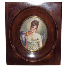 Antique Portrait Miniature Juliette Recamier Circa 1900