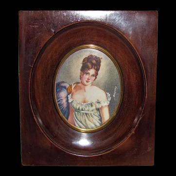 Antique Portrait Miniature Juliette Recamier Circa 1900