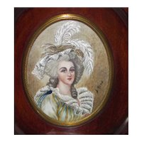 Antique Portrait Miniature Elizabeth of France Circa 1900