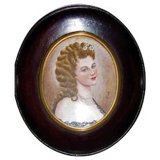 Antique Portrait Miniature Virginia Oldoini La Castiglione Circa 1900