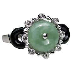 Vintage 14K White Gold Jade Onyx Diamond Ring Art Deco