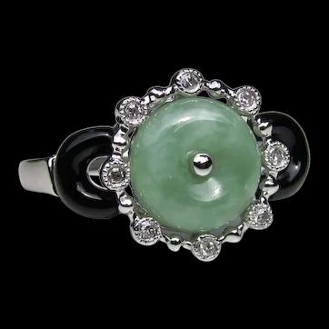 Vintage 14K White Gold Jade Onyx Diamond Ring Art Deco