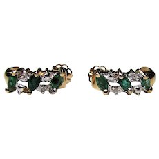 Vintage 14K Emerald and Diamond Earrings