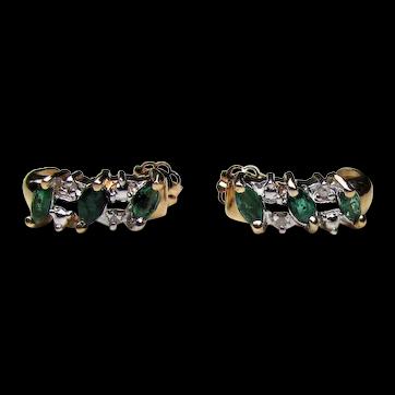 Vintage 14K Emerald and Diamond Earrings