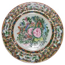 Antique Chinese Export Thousand Butterfly Porcelain Plate Early 20th Century