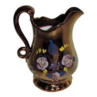 Large Antique Victorian Copper Lusterware Pitcher Circa 1840