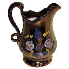 Large Antique Victorian Copper Lusterware Pitcher Circa 1840