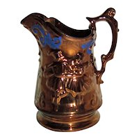 Large Antique Victorian Copper Luster Pitcher Circa 1840 Lusterware