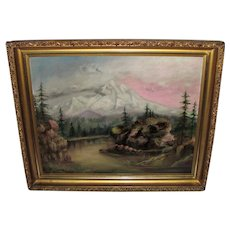 Antique Oil On Canvas Painting of Mt. Hood Circa 1900