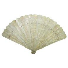 Antique Chinese Export Bone Brise Fan Circa 1900