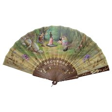 Antique Spanish Hand Painted Silk Fan Circa 1910