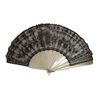 Antique Victorian Handmade Lace Fan Circa 1870
