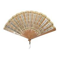 Antique Edwardian Silk and Metal Mesh Spangled Fan Circa 1910
