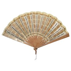 Antique Edwardian Silk and Metal Mesh Spangled Fan Circa 1910