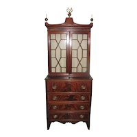 Antique American Federal Mahogany Secretary Bookcase Circa 1790