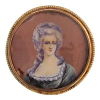 Antique Portrait Miniature Table Box 18th Century