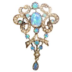 Vintage 14K Opal and Seed Pearl Pendant Brooch Combo