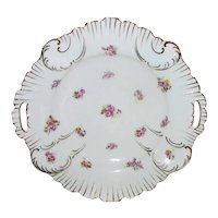 Antique KPM Porcelain Cake Plate Early 20th Century Pansies and Roses