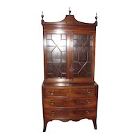 Antique American Federal Mahogany Secretary Bookcase Circa 1810
