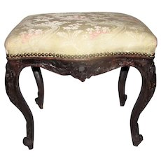 Antique French Louis XV Walnut Stool 18th Century