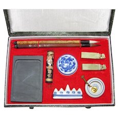 Vintage Chinese Calligraphy Set Late 20th Century