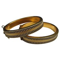 Pair Victorian Gold Filled Bangle Bracelets 19th Century