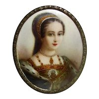 Antique Portrait Miniature Lady Jane Grey Circa 1900