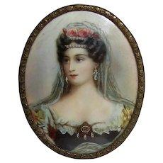 Antique Portrait Miniature Marie- Caroline of Bourbon Circa 1900