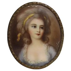Antique Portrait Miniature Countess Sofia Potocka Circa 1900