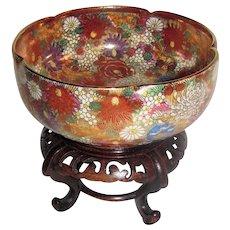 Antique Japanese Satsuma Bowl on Stand Meiji 19th Century